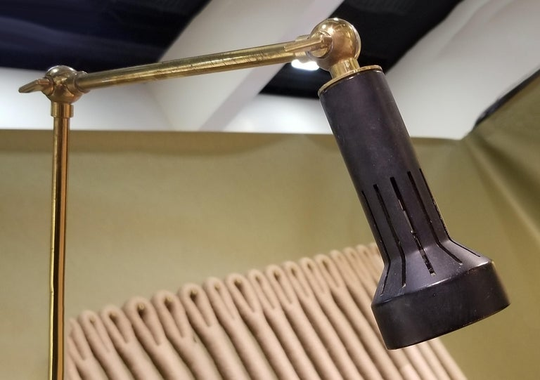 20th Century Arredoluce Easel Lamp by Angelo Lelii in Solid Brass, 1950s For Sale