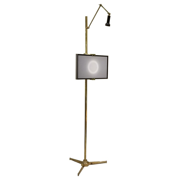 Arredoluce Easel Lamp by Angelo Lelii in Solid Brass, 1950s For Sale