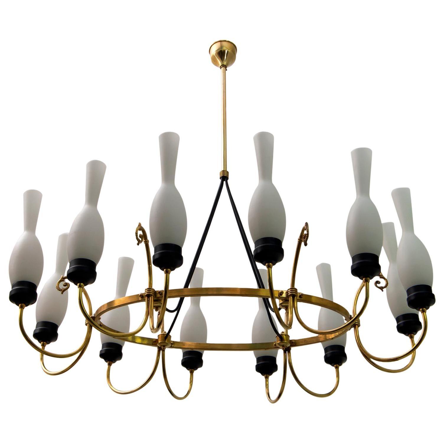 Arredoluce Mid-Century Modern Italian Brass and Opaline Glass Chandelier, 1950s