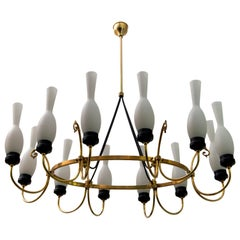 Arredoluce Mid-Century Modern Italian Brass and Opaline Glass Chandelier, 1950s