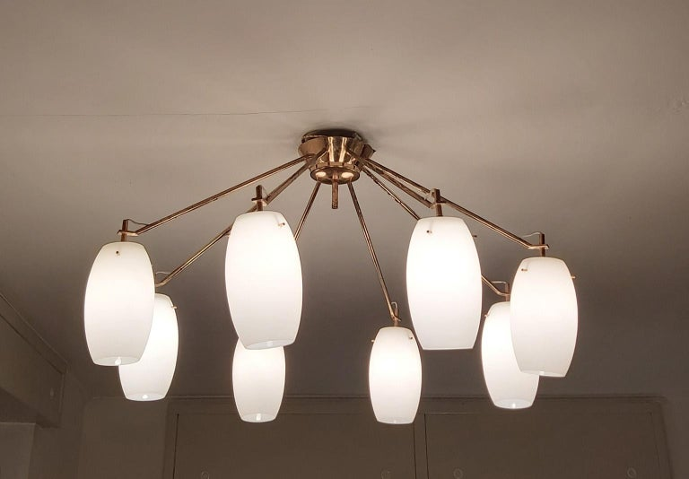 Arredoluce Midcentury Brass and Glass Large Chandelier, Milan, 1950s For Sale 4