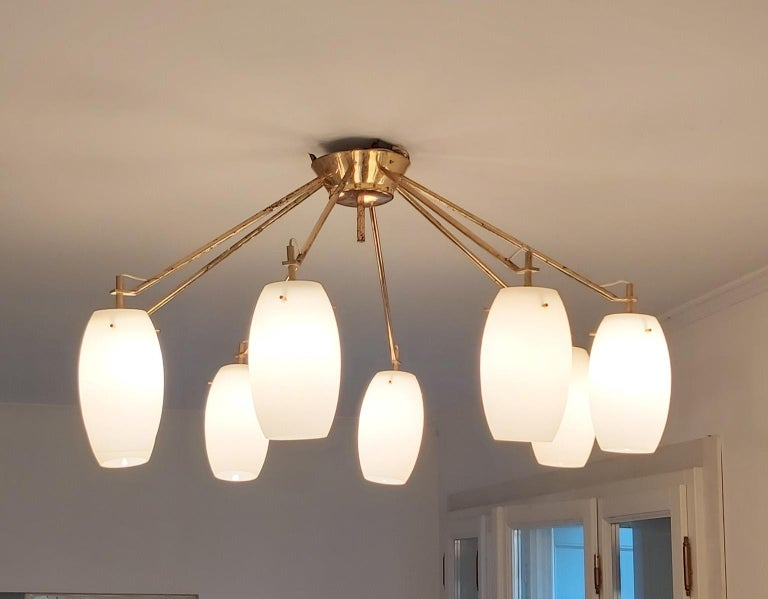 Arredoluce Midcentury Brass and Glass Large Chandelier, Milan, 1950s For Sale 5