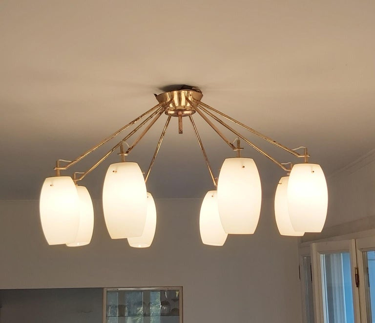 Arredoluce Midcentury Brass and Glass Large Chandelier, Milan, 1950s For Sale 7