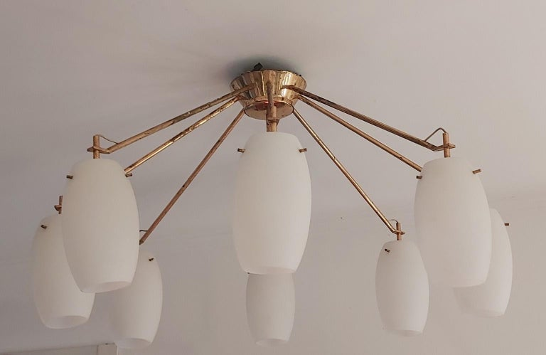 Mid-Century Modern Arredoluce Midcentury Brass and Glass Large Chandelier, Milan, 1950s For Sale