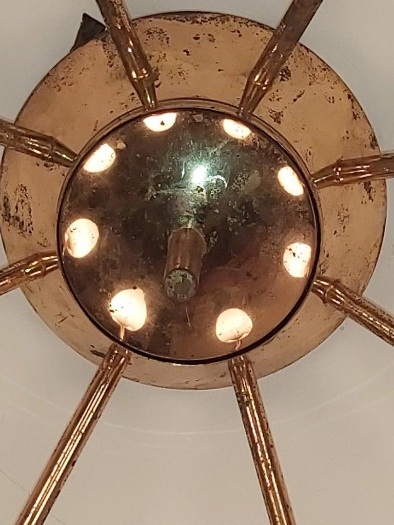 Italian Arredoluce Midcentury Brass and Glass Large Chandelier, Milan, 1950s For Sale