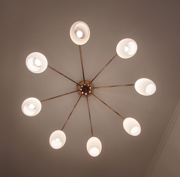 Arredoluce Midcentury Brass and Glass Large Chandelier, Milan, 1950s In Good Condition For Sale In Milano, IT