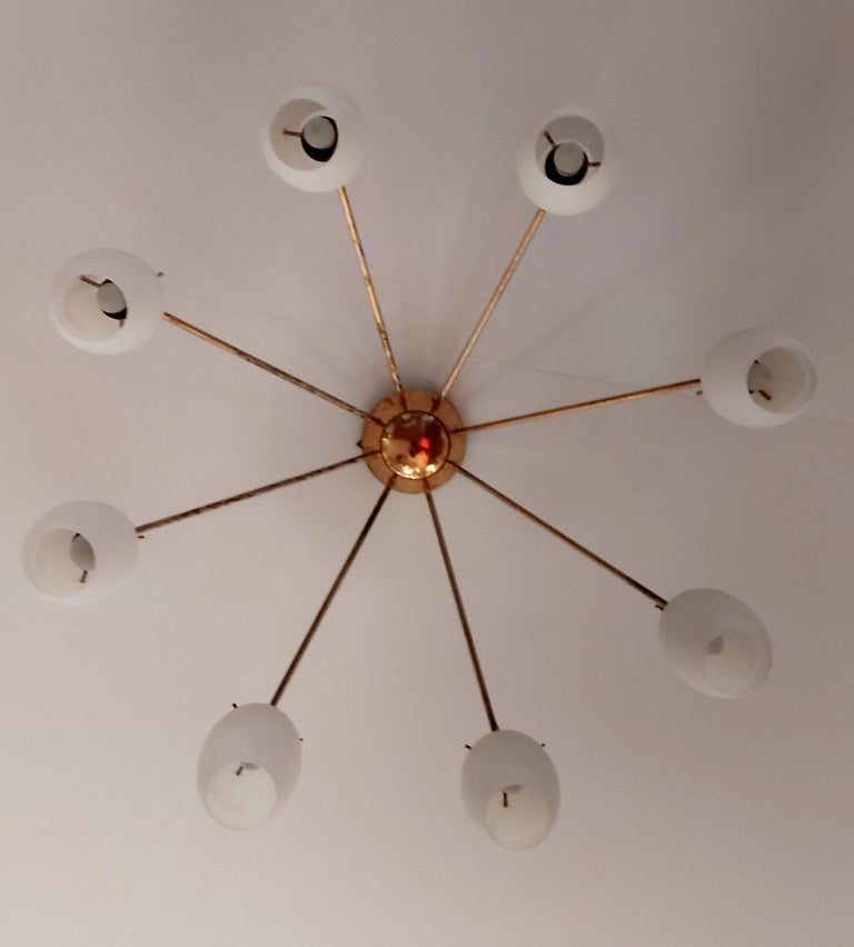 Mid-20th Century Arredoluce Midcentury Brass and Glass Large Chandelier, Milan, 1950s For Sale