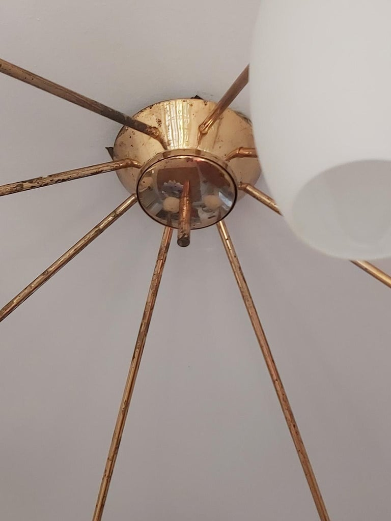 Arredoluce Midcentury Brass and Glass Large Chandelier, Milan, 1950s For Sale 2