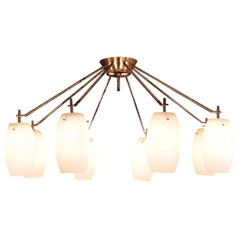 Arredoluce Midcentury Brass and Glass Large Chandelier, Milan, 1950s For Sale