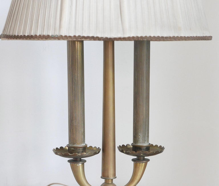 Mid-Century Modern Arredoluce  Midcentury Table Lamp  Marble Base and Silk Lampshade, Milano, 1940s For Sale