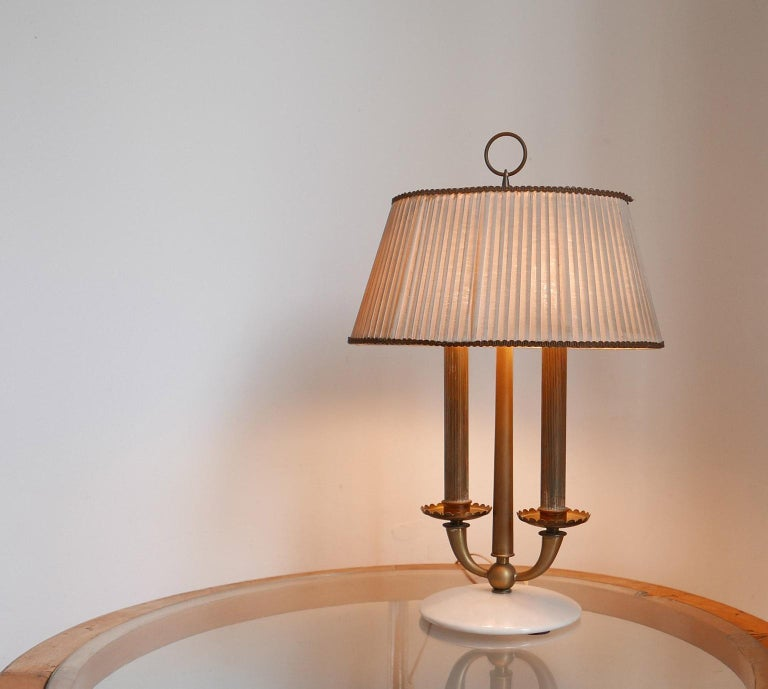 Italian Arredoluce  Midcentury Table Lamp  Marble Base and Silk Lampshade, Milano, 1940s For Sale