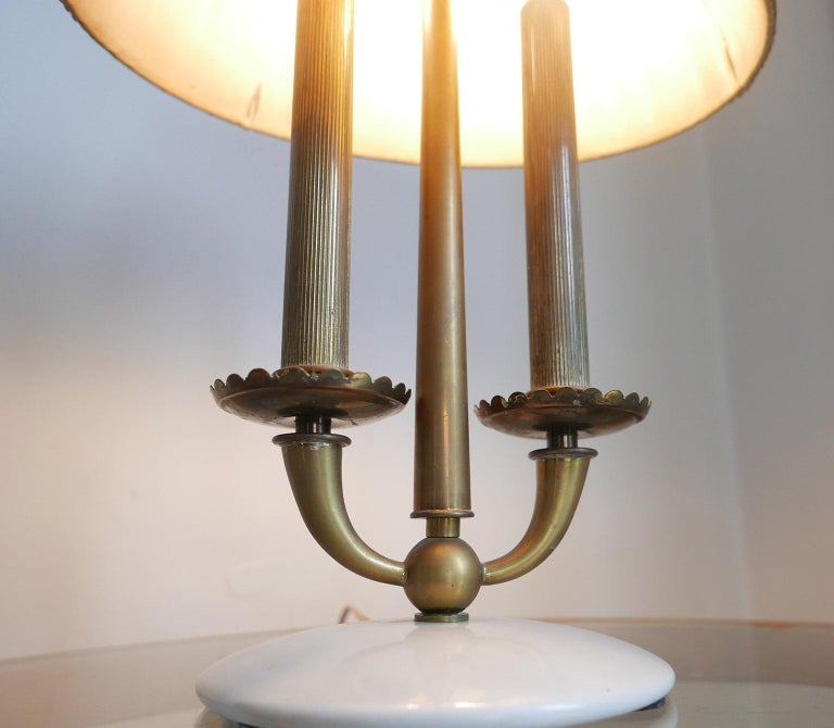 Mid-20th Century Arredoluce  Midcentury Table Lamp  Marble Base and Silk Lampshade, Milano, 1940s For Sale
