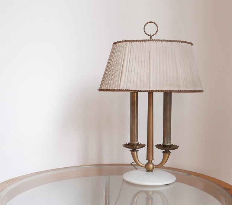 Brass Arredoluce  Midcentury Table Lamp  Marble Base and Silk Lampshade, Milano, 1940s For Sale