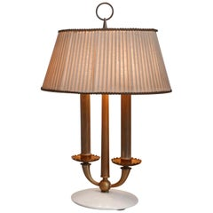 Arredoluce  Midcentury Table Lamp  Marble Base and Silk Lampshade, Milano, 1940s