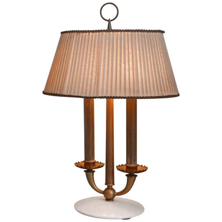 Arredoluce  Midcentury Table Lamp  Marble Base and Silk Lampshade, Milano, 1940s For Sale