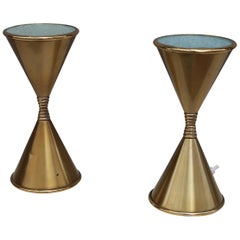 Arredoluce, Pair of Brass and Opaline Glass Midcentury Table Lamps, Italy, 1960
