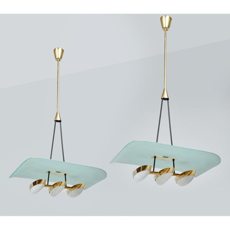 Italian Arredoluce Pair of Glass, Brass and Perspex Pendant Chandeliers, Italy 1950's For Sale