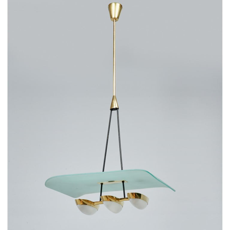 Arredoluce Pair of Glass, Brass and Perspex Pendant Chandeliers, Italy 1950's In Good Condition For Sale In New York, NY