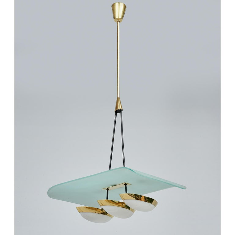 Mid-20th Century Arredoluce Pair of Glass, Brass and Perspex Pendant Chandeliers, Italy 1950's For Sale