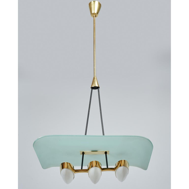 Arredoluce Pair of Glass, Brass and Perspex Pendant Chandeliers, Italy 1950's For Sale 1