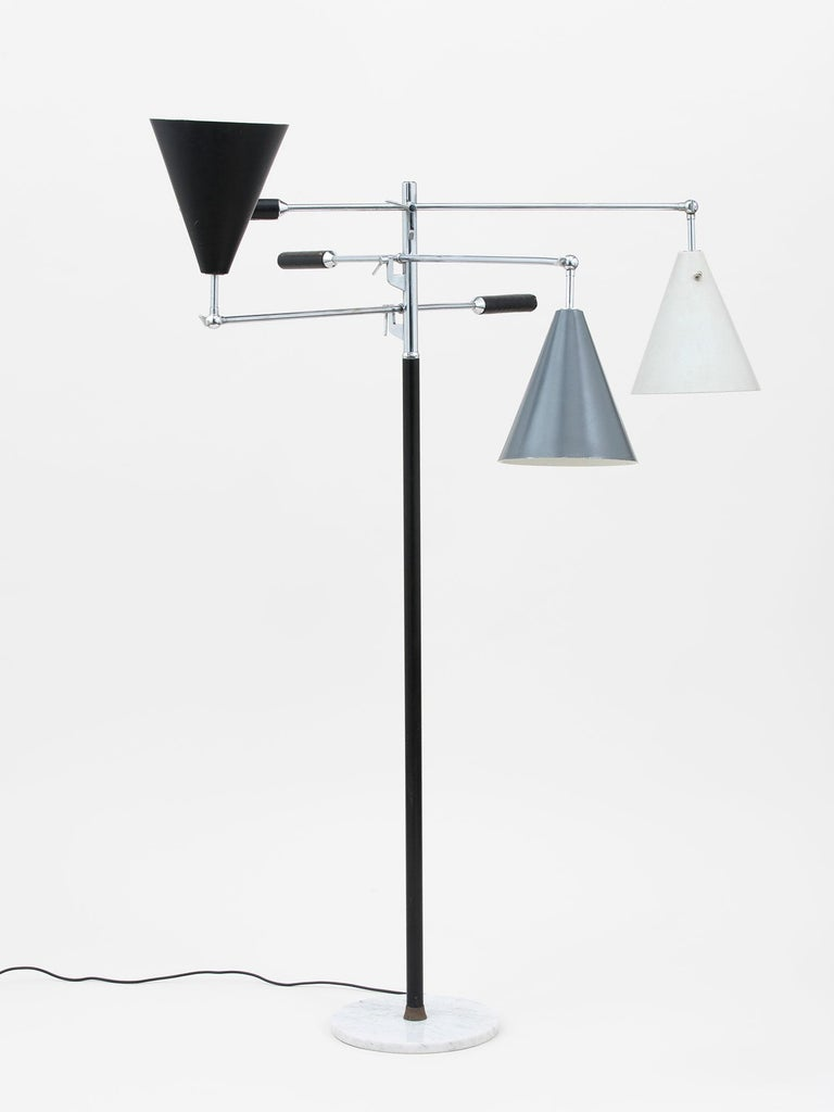Enameled Arredoluce Three-Arm Floor Lamp For Sale