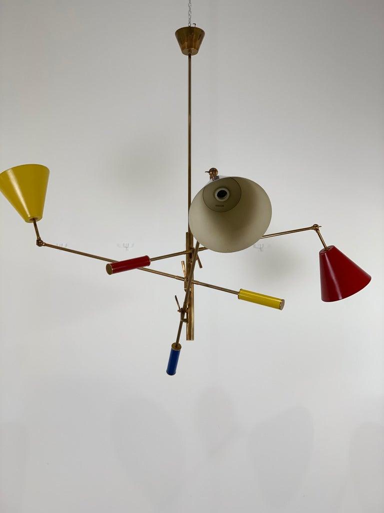 arredoluce triennale three arm brass chandelier italy