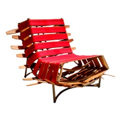 """Arreio"" Lounge Chair in Red, Contemporary Brazilian Design"