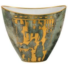 Arrigo Finzi Greco-Roman Motif Gold Porcelain Vase for Oro Zecchino, Italy 1950s