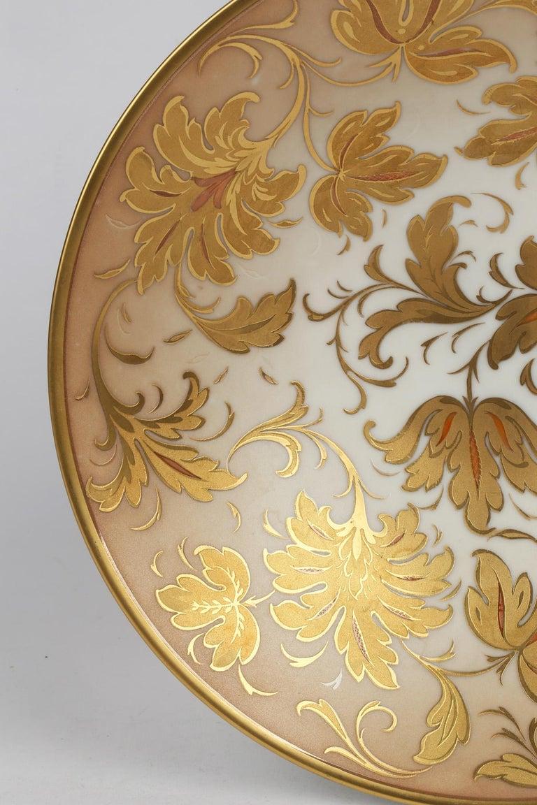 Arrigo Finzi Italian Mid Century Oro Zecchino Leaf Design Porcelain Bowl For Sale 4