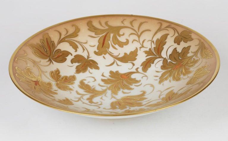 Arrigo Finzi Italian Mid Century Oro Zecchino Leaf Design Porcelain Bowl For Sale 5