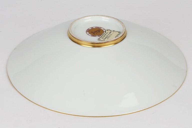 Arrigo Finzi Italian Mid Century Oro Zecchino Leaf Design Porcelain Bowl For Sale 6