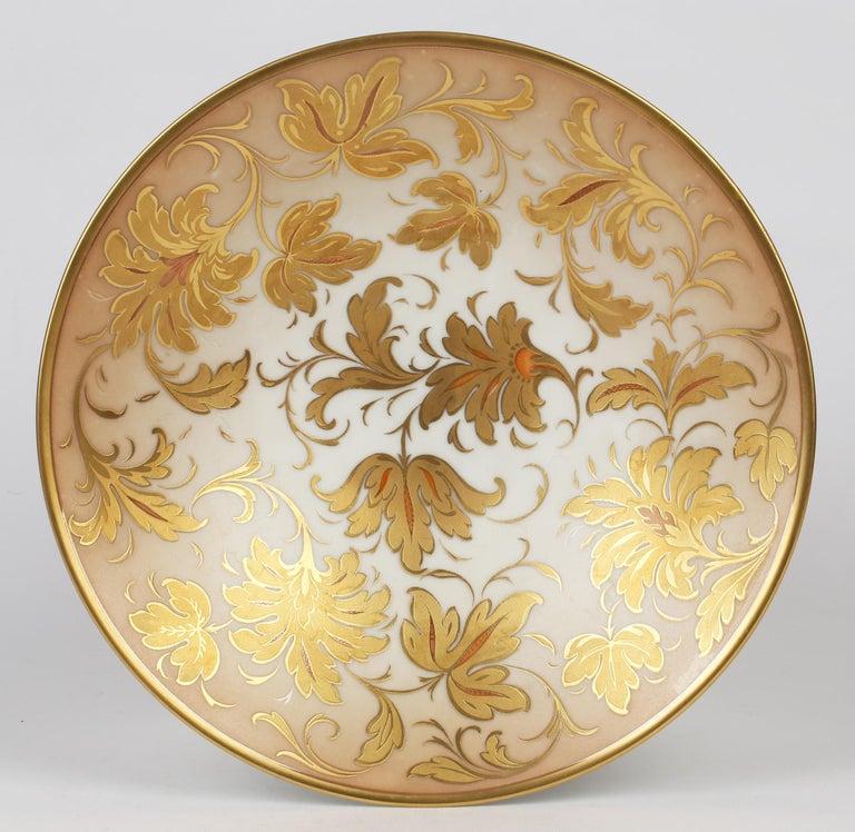 Arrigo Finzi Italian Mid Century Oro Zecchino Leaf Design Porcelain Bowl For Sale 7