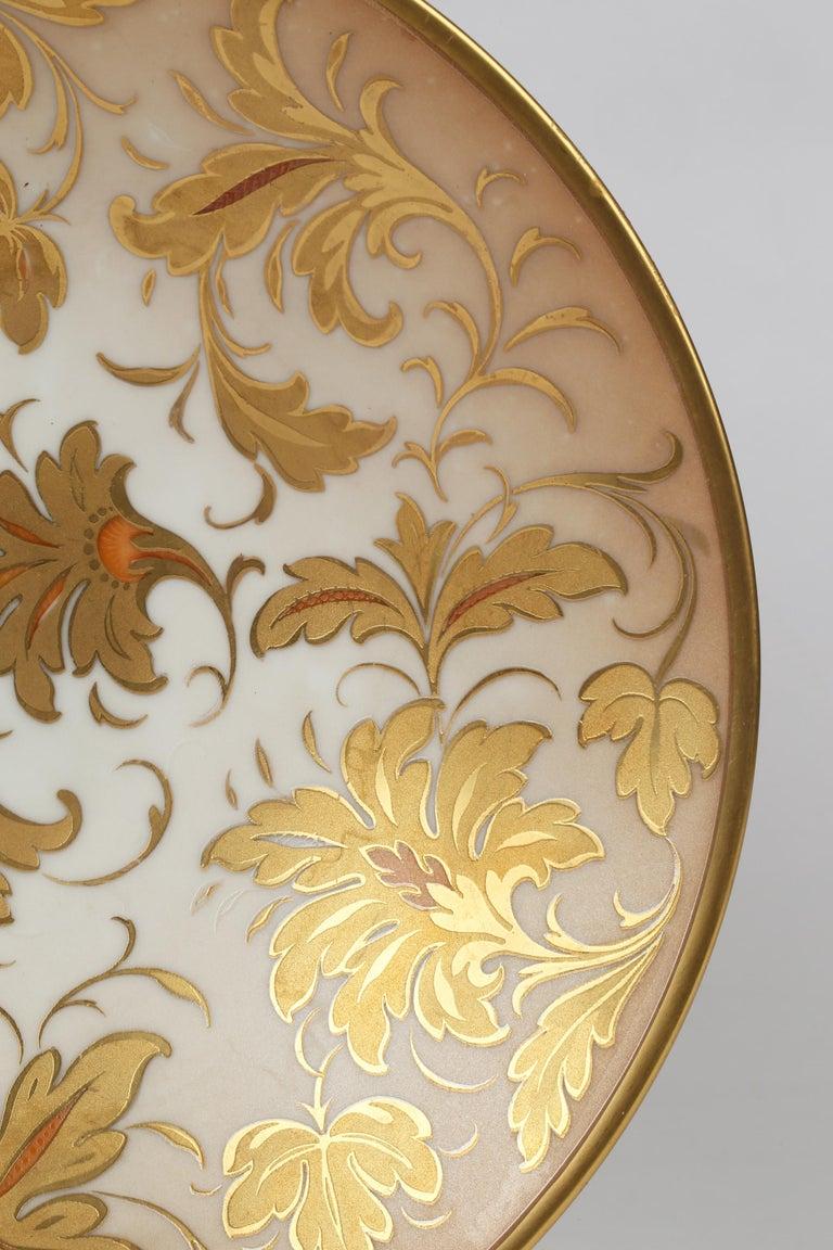 Gilt Arrigo Finzi Italian Mid Century Oro Zecchino Leaf Design Porcelain Bowl For Sale
