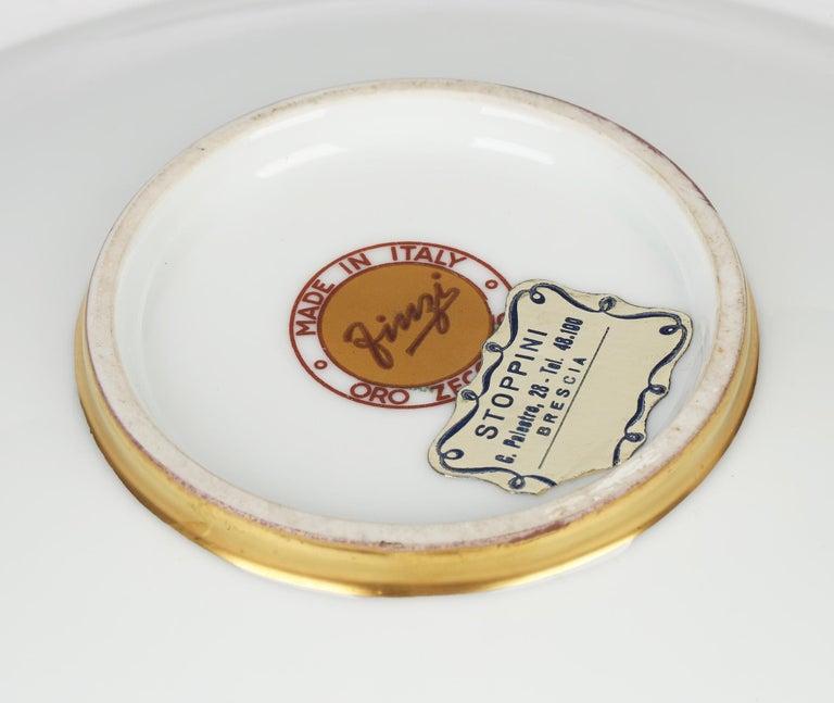 Arrigo Finzi Italian Mid Century Oro Zecchino Leaf Design Porcelain Bowl In Good Condition For Sale In Bishop's Stortford, Hertfordshire