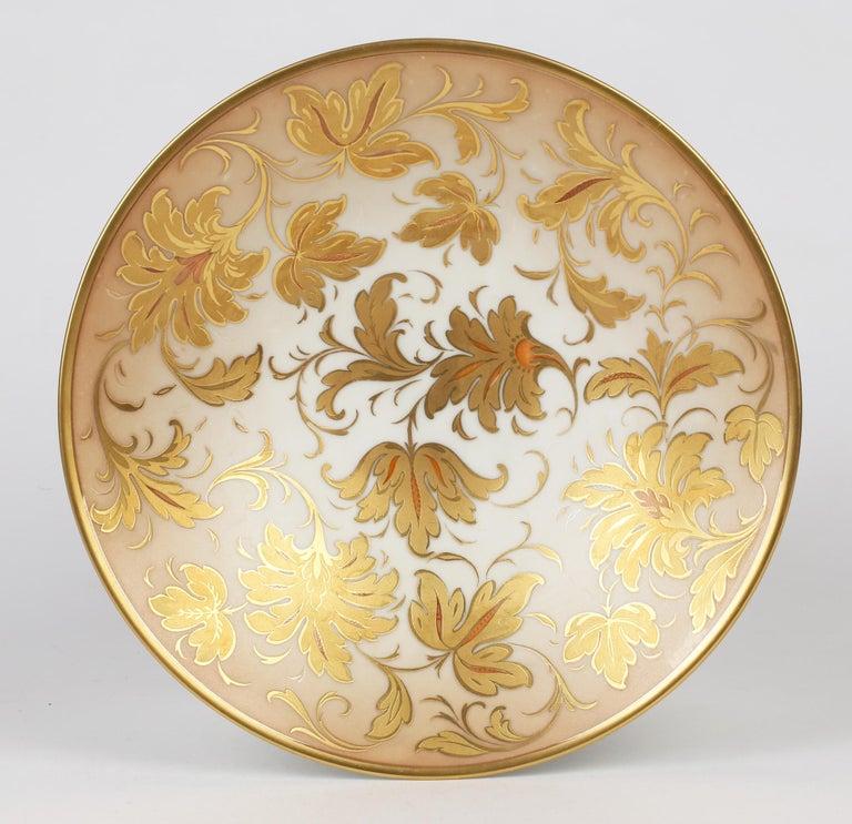 Mid-20th Century Arrigo Finzi Italian Mid Century Oro Zecchino Leaf Design Porcelain Bowl For Sale