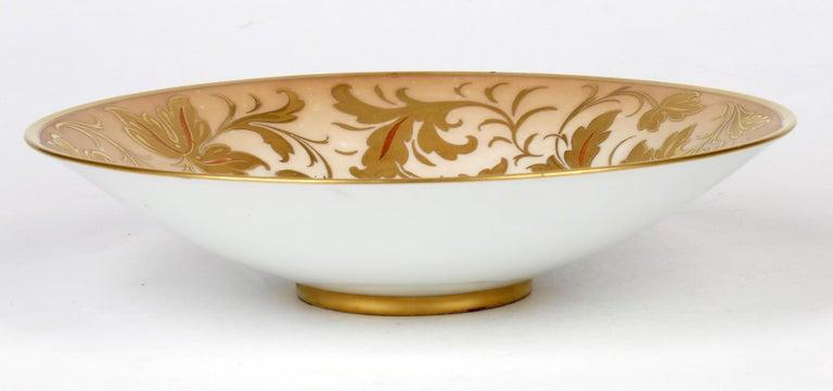 Arrigo Finzi Italian Mid Century Oro Zecchino Leaf Design Porcelain Bowl For Sale 1
