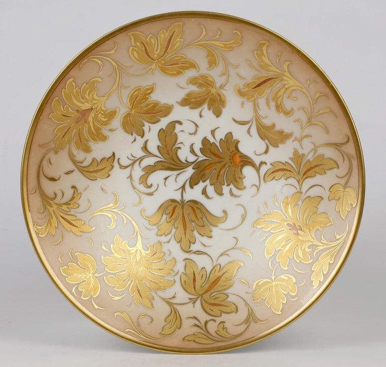 Arrigo Finzi Italian Mid Century Oro Zecchino Leaf Design Porcelain Bowl For Sale 2