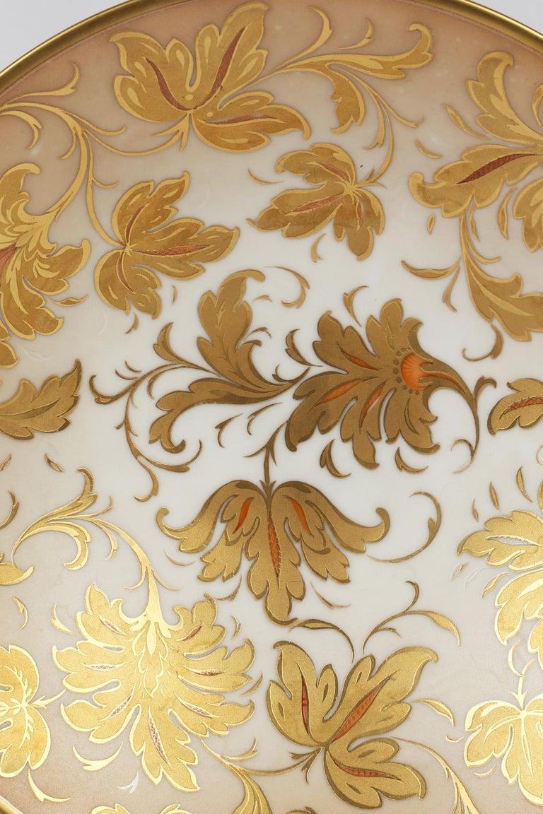 Arrigo Finzi Italian Mid Century Oro Zecchino Leaf Design Porcelain Bowl For Sale 3