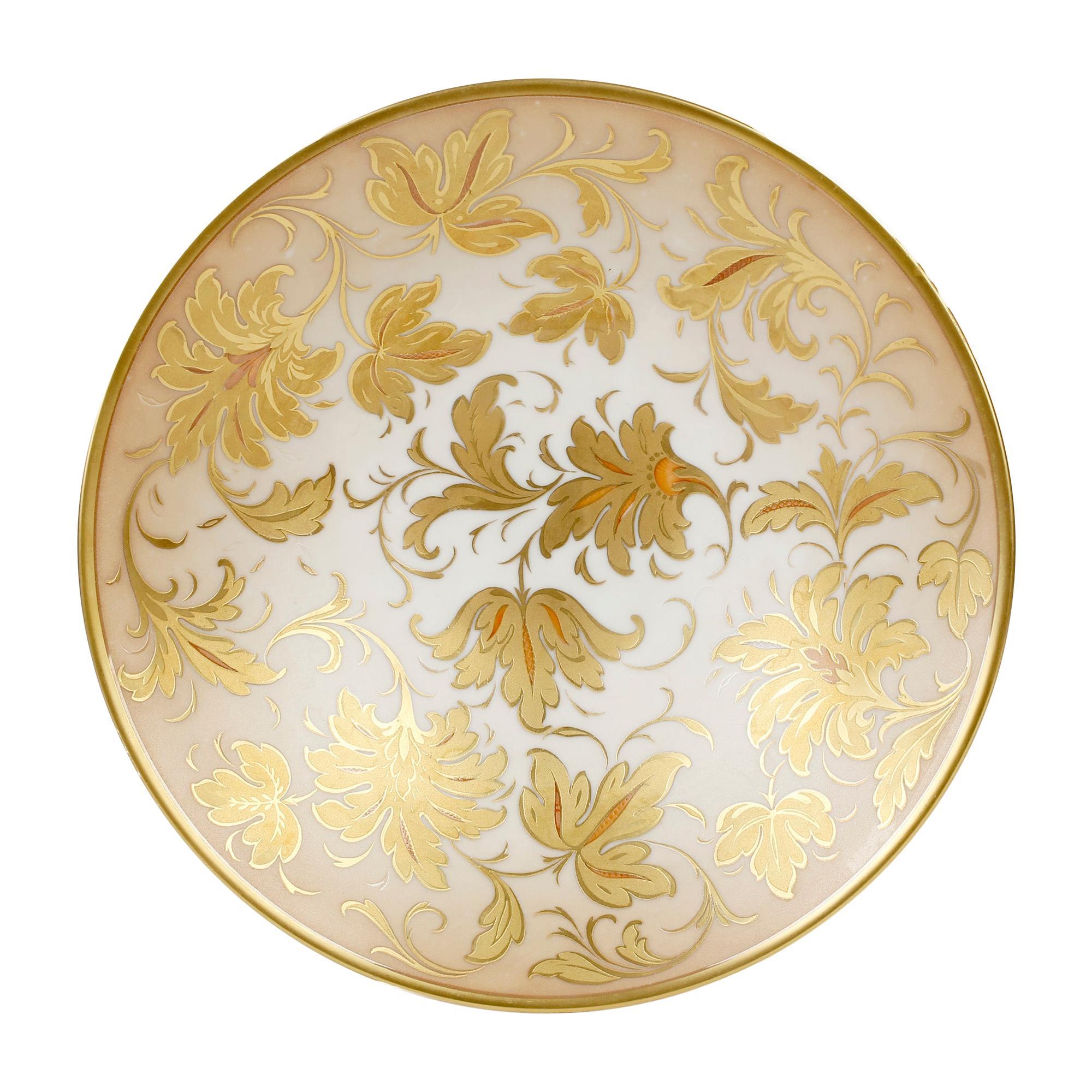 Arrigo Finzi Italian Mid Century Oro Zecchino Leaf Design Porcelain Bowl
