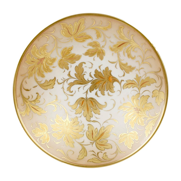 Arrigo Finzi Italian Mid Century Oro Zecchino Leaf Design Porcelain Bowl For Sale