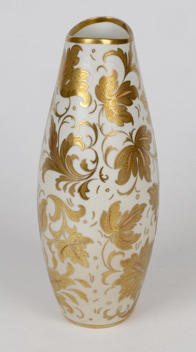Arrigo Finzi Italian Mid Century Oro Zecchino Leaf Design Porcelain Vase For Sale 4