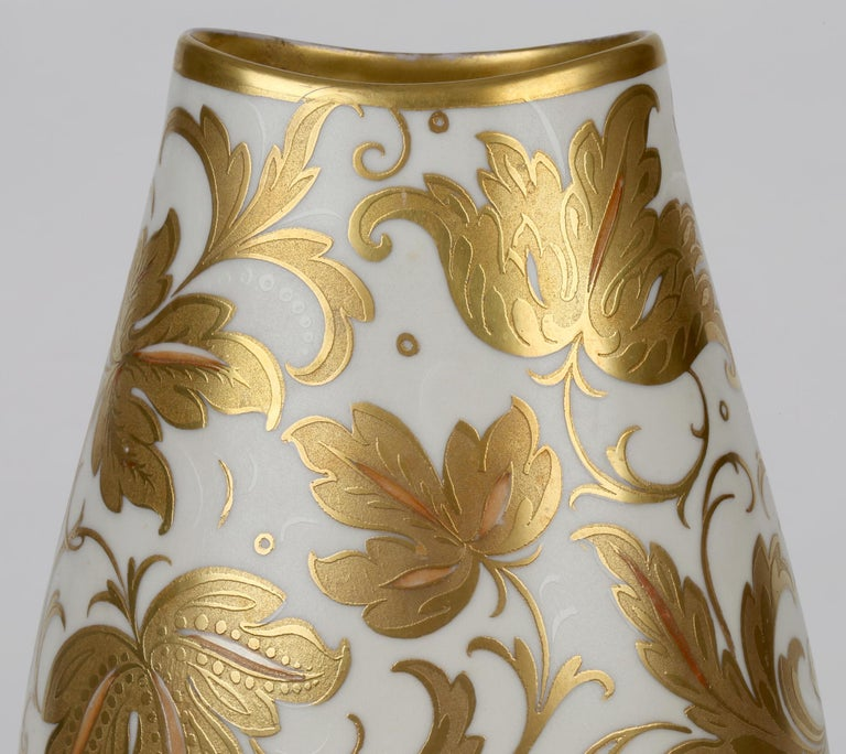 Arrigo Finzi Italian Mid Century Oro Zecchino Leaf Design Porcelain Vase For Sale 5