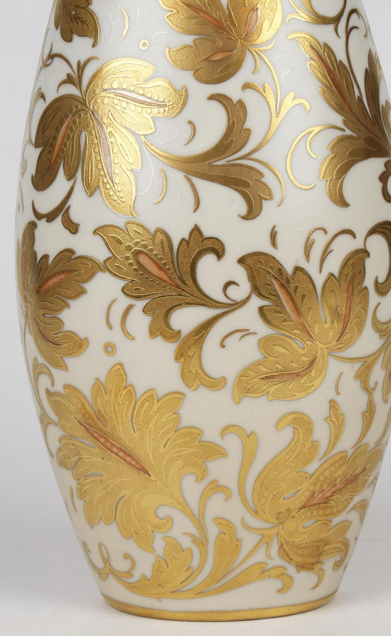 Arrigo Finzi Italian Mid Century Oro Zecchino Leaf Design Porcelain Vase For Sale 6