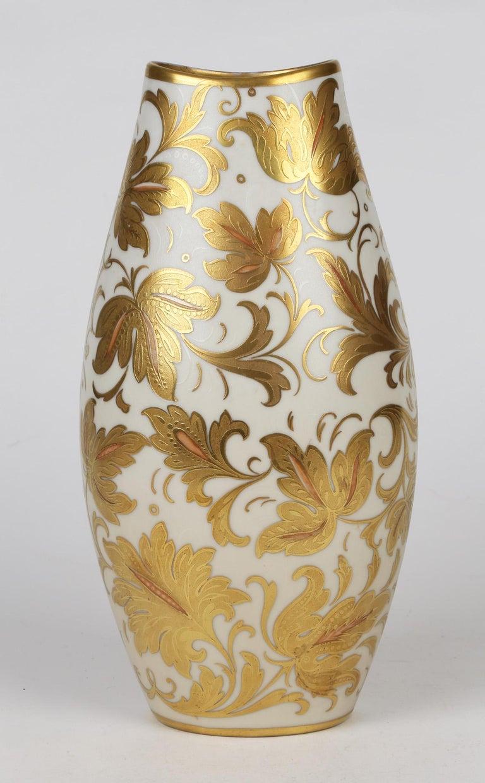 Mid-20th Century Arrigo Finzi Italian Mid Century Oro Zecchino Leaf Design Porcelain Vase For Sale