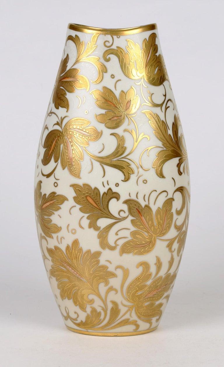 Arrigo Finzi Italian Mid Century Oro Zecchino Leaf Design Porcelain Vase For Sale 3