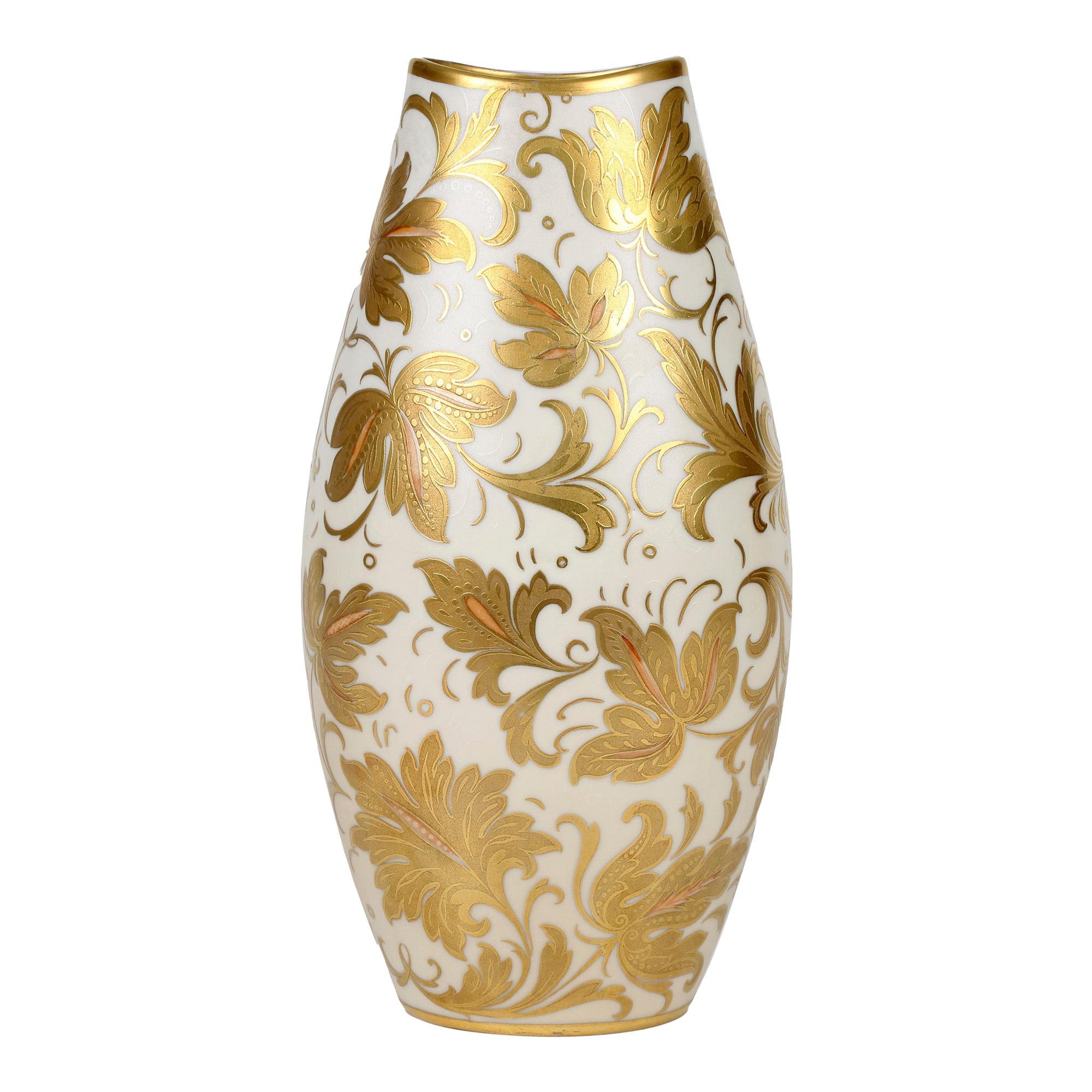 Arrigo Finzi Italian Mid Century Oro Zecchino Leaf Design Porcelain Vase