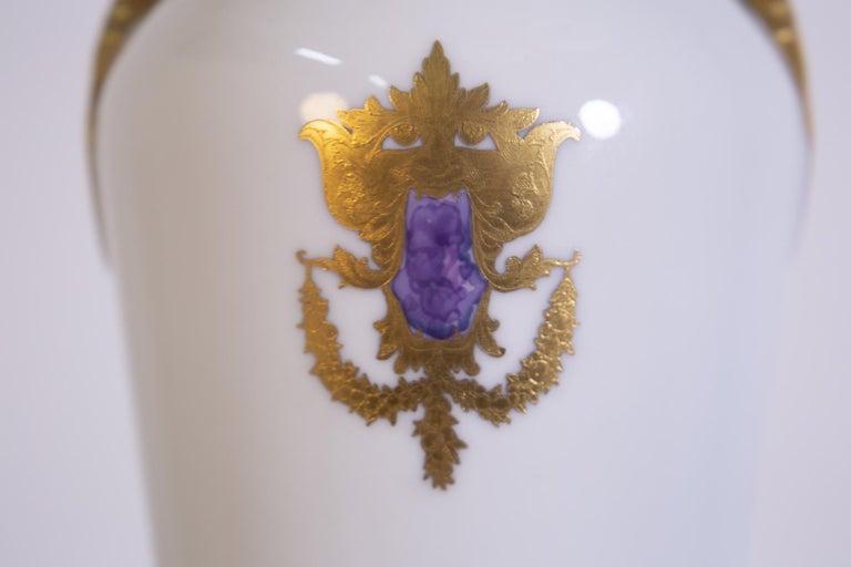 Italian Arrigo Finzi Vase in Porcelain, Gold Painted, Original Label, 1950s For Sale
