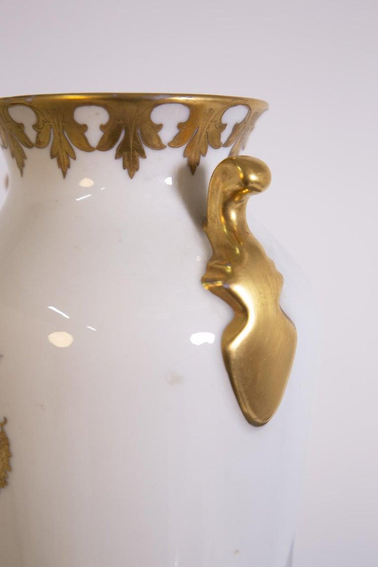 Mid-20th Century Arrigo Finzi Vase in Porcelain, Gold Painted, Original Label, 1950s For Sale
