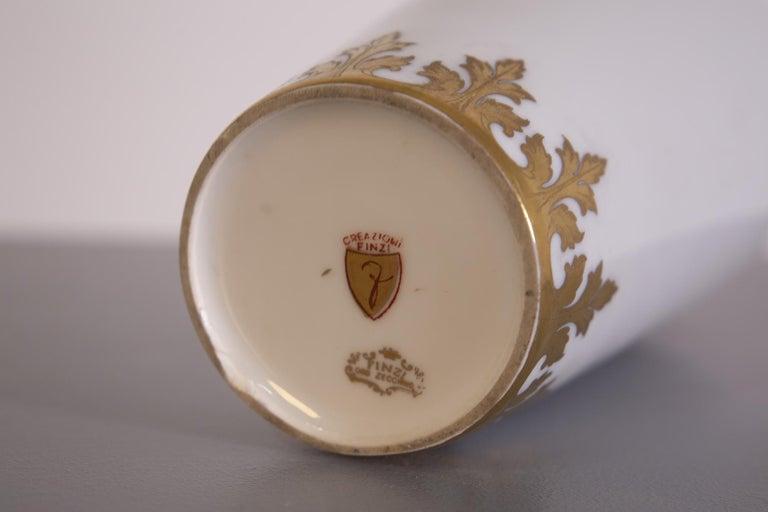 Arrigo Finzi Vase in Porcelain, Gold Painted, Original Label, 1950s For Sale 1