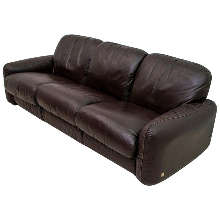 "Arrigoni Arrigo Modern Italian Genuine Leather Sofa ""Piumotto"" for Busnelli For Sale"